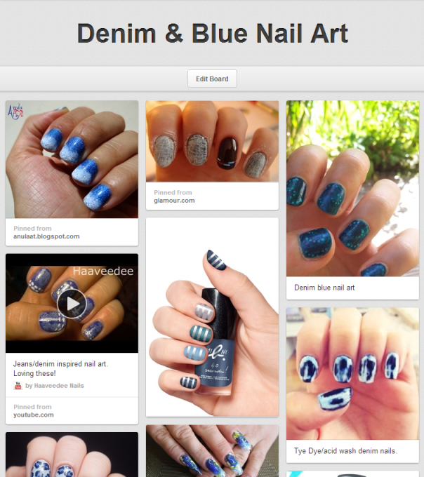 Denim & Blue Nail Art