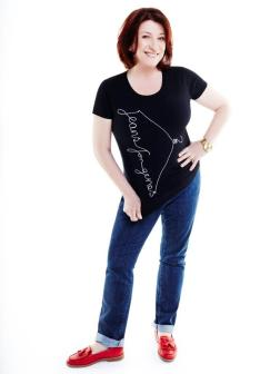 Caroline Quentin in Jeans for Genes black fashion t-shirt