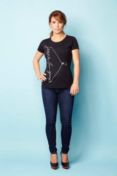 Coleen Rooney in black Jeans for Genes fashion t-shirt