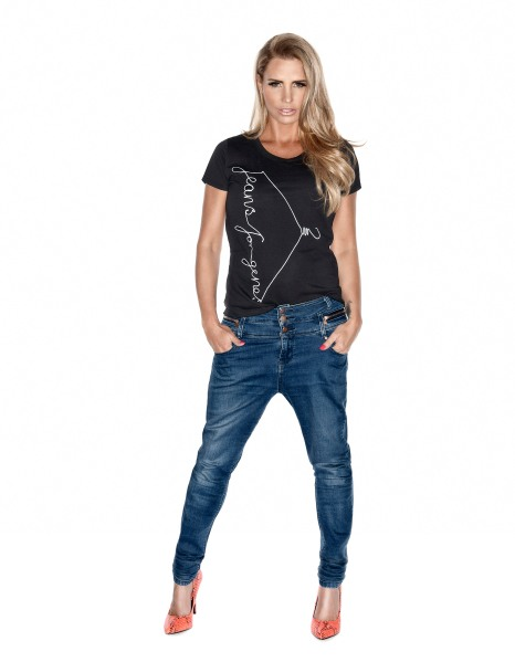 Katie Price in Jeans for Genes black fashion t-shirt