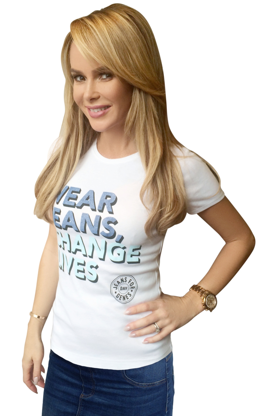 Amanda Holden in Jeans for Genes white campaign t-shirt final (online use only)