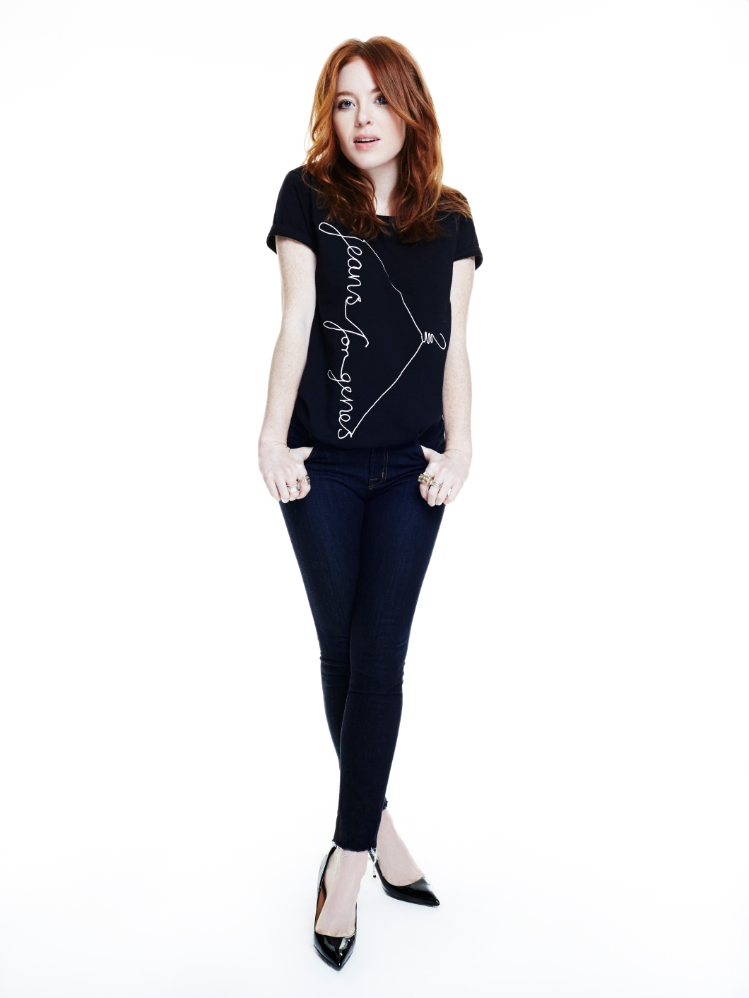 Angela Scanlon in black Jeans for Genes fashion t-shirt
