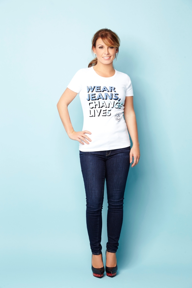 Coleen Rooney in Jeans for Genes white campaign t-shirt