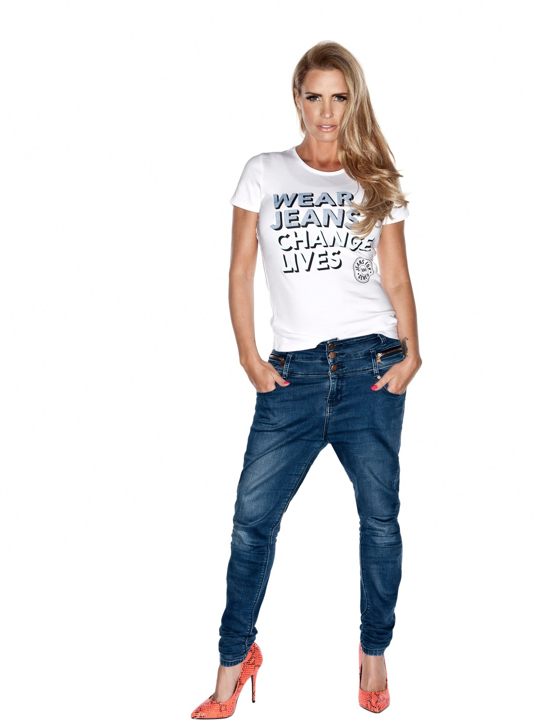 Katie Price in Jeans for Genes white campaign t-shirt