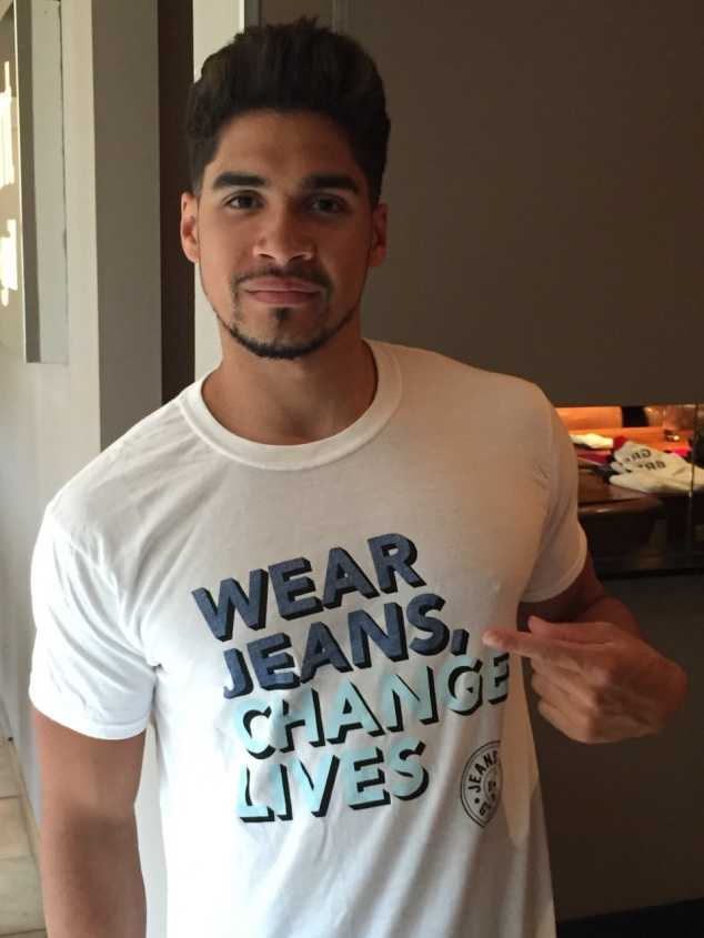 Louis Smith in Jeans for Genes Day campaign t-shirt
