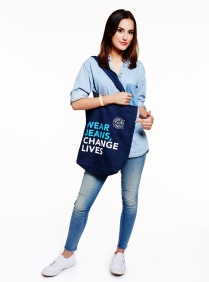 Lucy Watson in double denim and Jeans for Genes denim bag