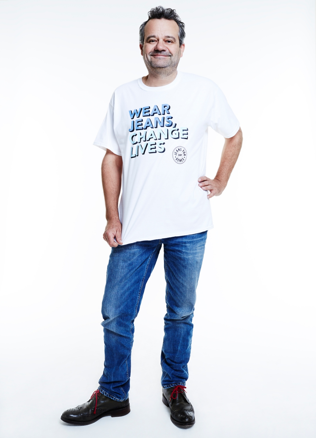 Mark Hix, chef in Jeans for Genes white campaign t-shirt