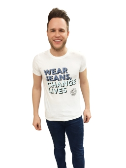 Olly Murs in Jeans for Genes white campaign t-shirt