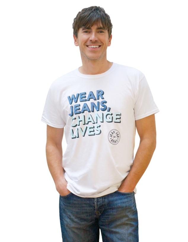 Simon Reeve in Jeans for Genes Day campaign t-shirt