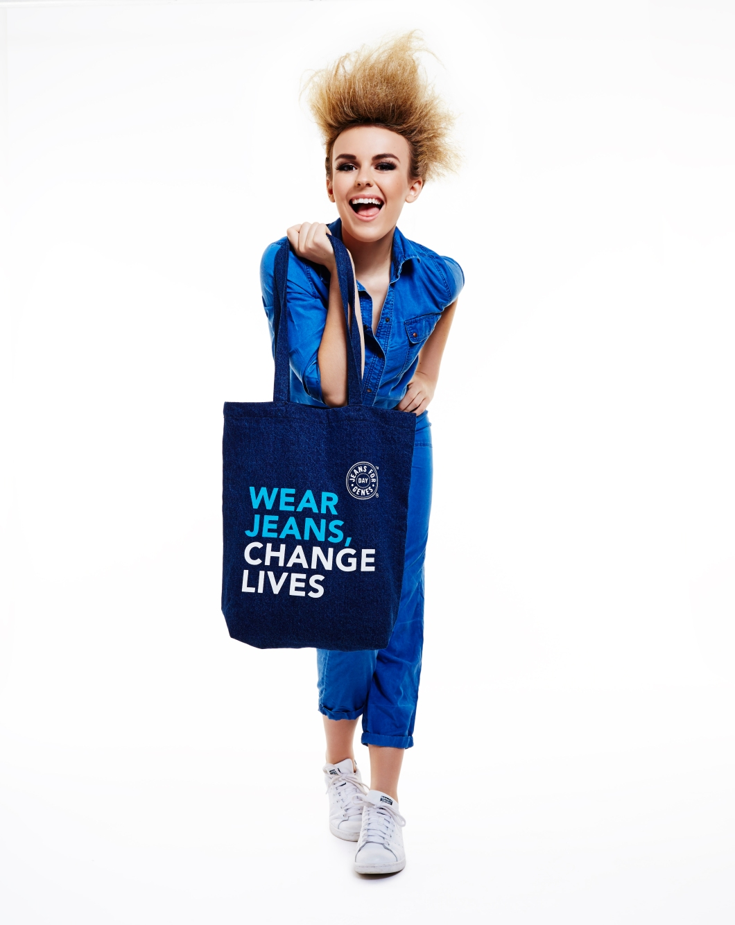 Tallia Storm modelling denim jumpsuit and Jeans for Genes denim bag