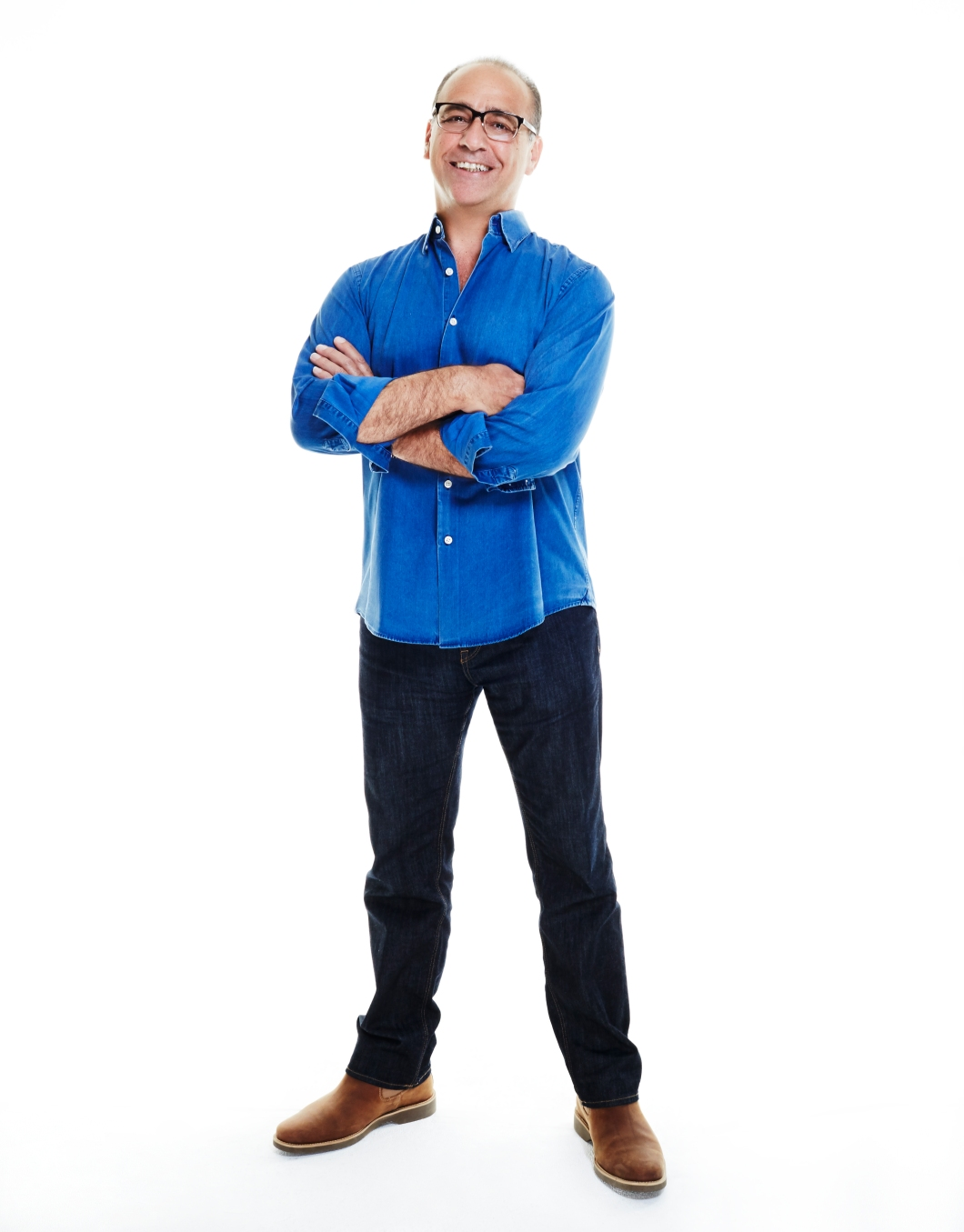 Theo Paphitis in double denim for Jeans for Genes