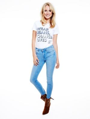 Kimberley Garner in Jeans for Genes white campaign t-shirt